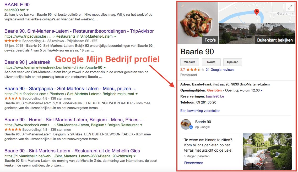 Google bedrijfspagina voorbeeld