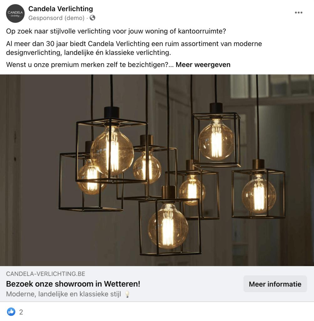Facebook advertentie Candela Verlichting: voorbeeld