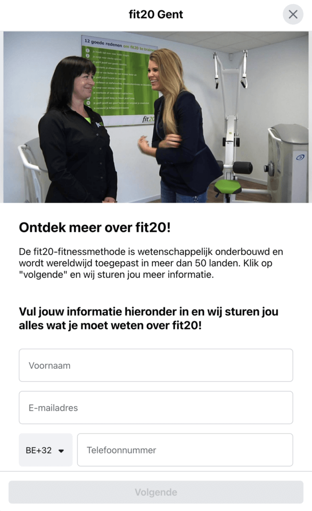 fit20 gent Facebook lead ads