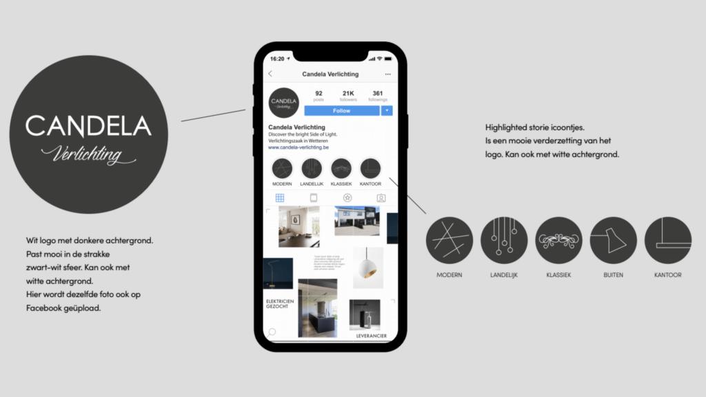 Social media huisstijl Candela Verlichting: design